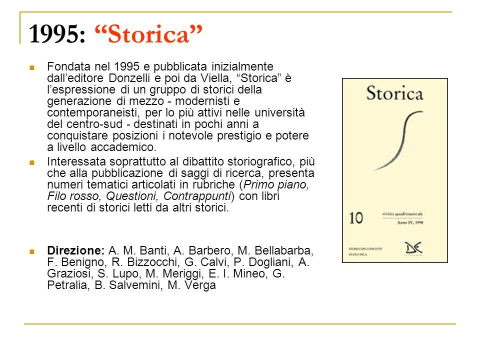 1995: Storica Fondata nel 1995 e pubblicata inizialmente dalleditore Donzelli e poi da Viella, Storica è lespressione di un gruppo di storici della ge
