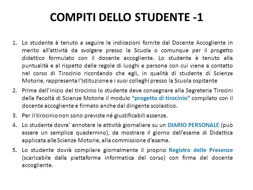 COMPITI DELLO STUDENTE -1 1.Lo studente è tenuto a seguire le indicazioni fornite dal Docente Accogliente in merito allattività da svolgere presso la