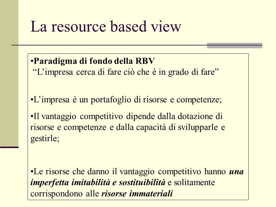 Le risorse aziendali (3) Conoscenze Coesione del personale dedizione Credibilita Patrimonio sociale Conoscenza, linguaggio degli interlocutori Compren