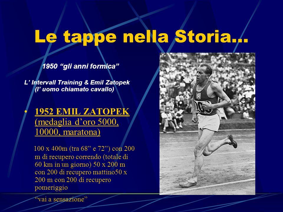 Le tappe nella Storia… 1950 gli anni formica L Intervall Training & Emil Zatopek (l uomo chiamato cavallo) 1952 EMIL ZATOPEK (medaglia doro 5000, 1000