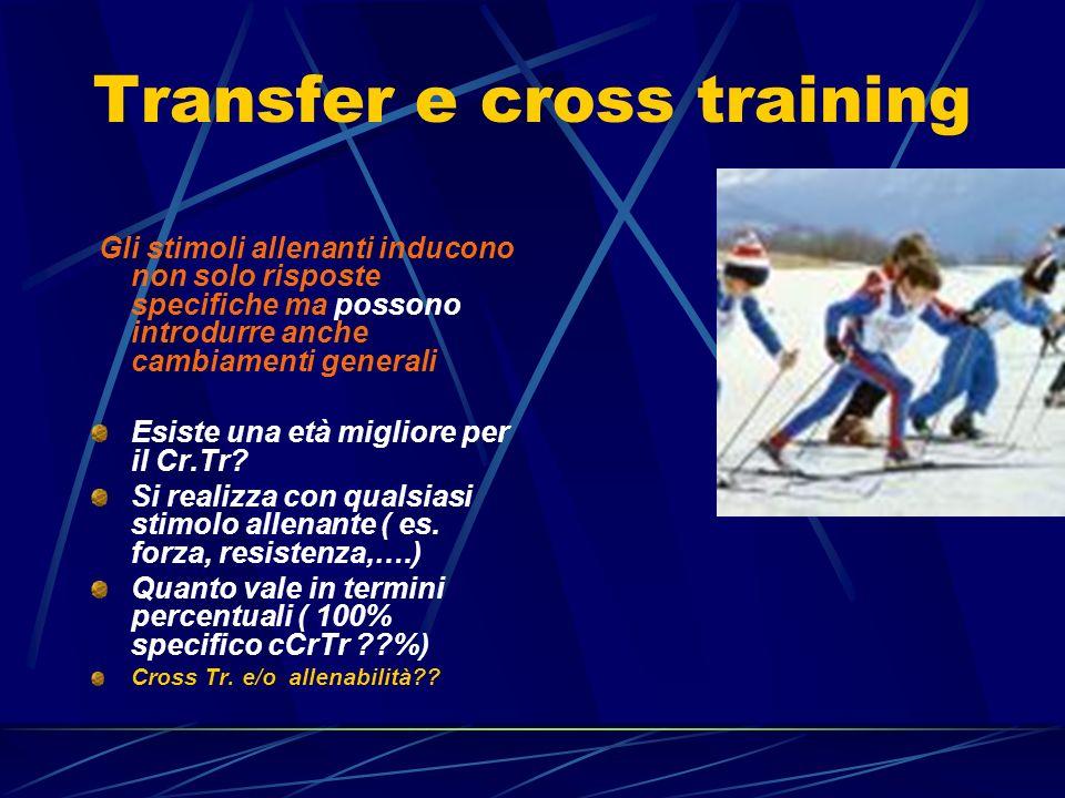 Transfer e cross training Gli stimoli allenanti inducono non solo risposte specifiche ma possono introdurre anche cambiamenti generali Esiste una età