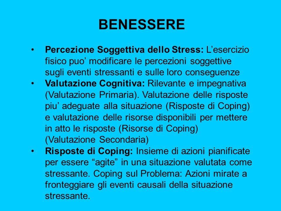 BENESSERE Percezione Soggettiva dello Stress: Lesercizio fisico puo modificare le percezioni soggettive sugli eventi stressanti e sulle loro conseguen