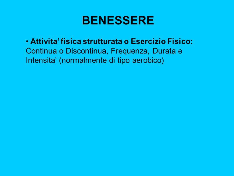 BENESSERE Attivita fisica strutturata o Esercizio Fisico: Continua o Discontinua, Frequenza, Durata e Intensita (normalmente di tipo aerobico)