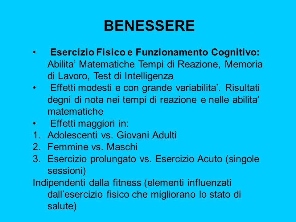BENESSERE Esercizio Fisico e Funzionamento Cognitivo: Abilita Matematiche Tempi di Reazione, Memoria di Lavoro, Test di Intelligenza Effetti modesti e