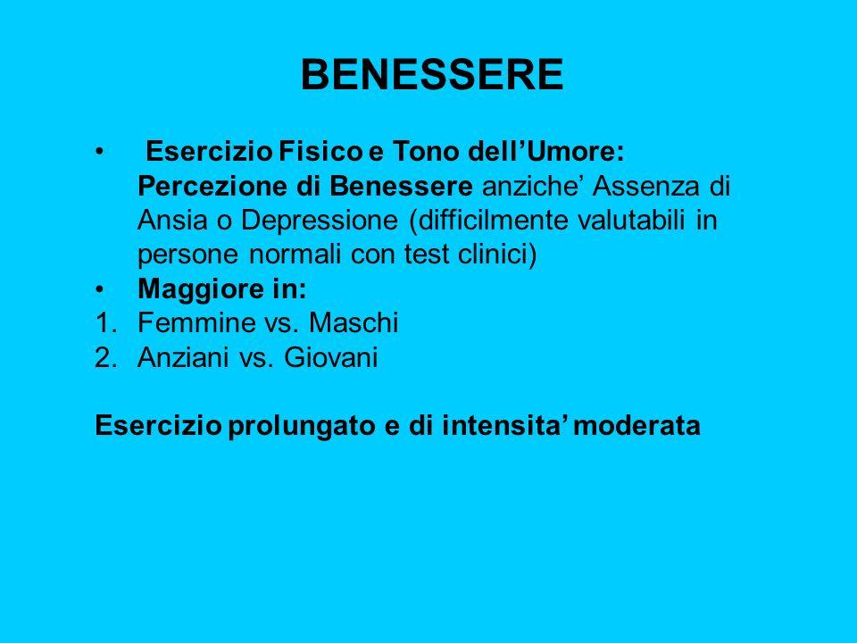 BENESSERE Esercizio Fisico e Tono dellUmore: Percezione di Benessere anziche Assenza di Ansia o Depressione (difficilmente valutabili in persone norma