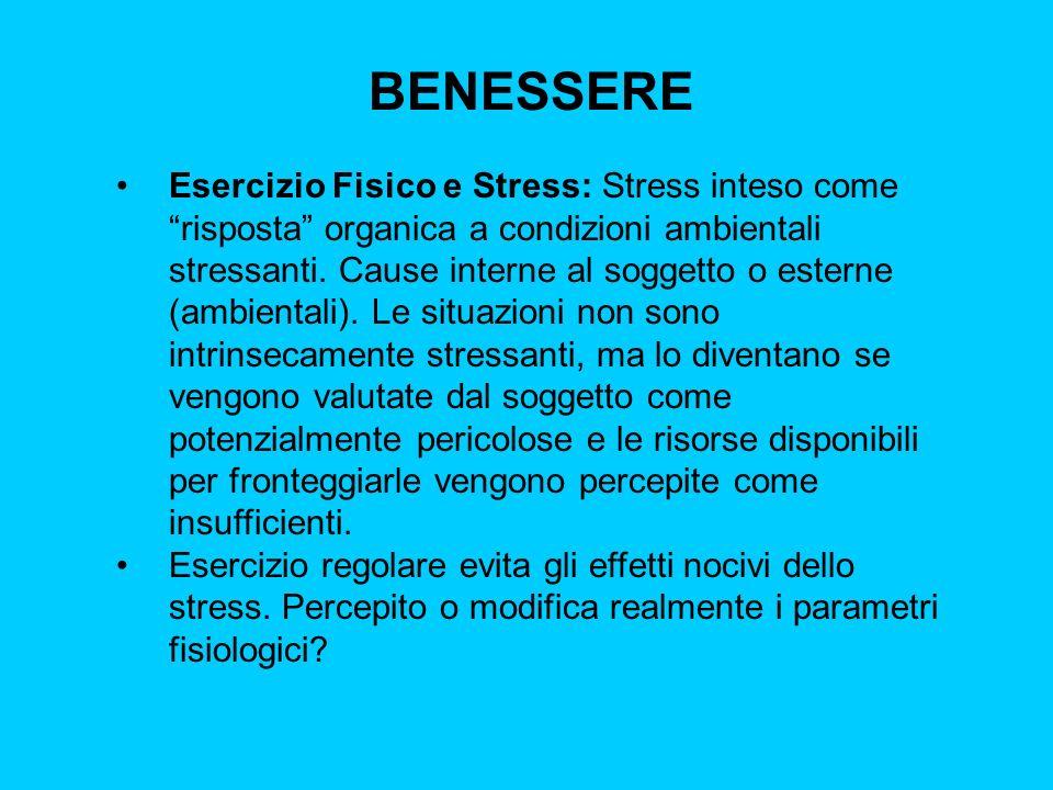 BENESSERE Esercizio Fisico e Stress: Stress inteso come risposta organica a condizioni ambientali stressanti. Cause interne al soggetto o esterne (amb
