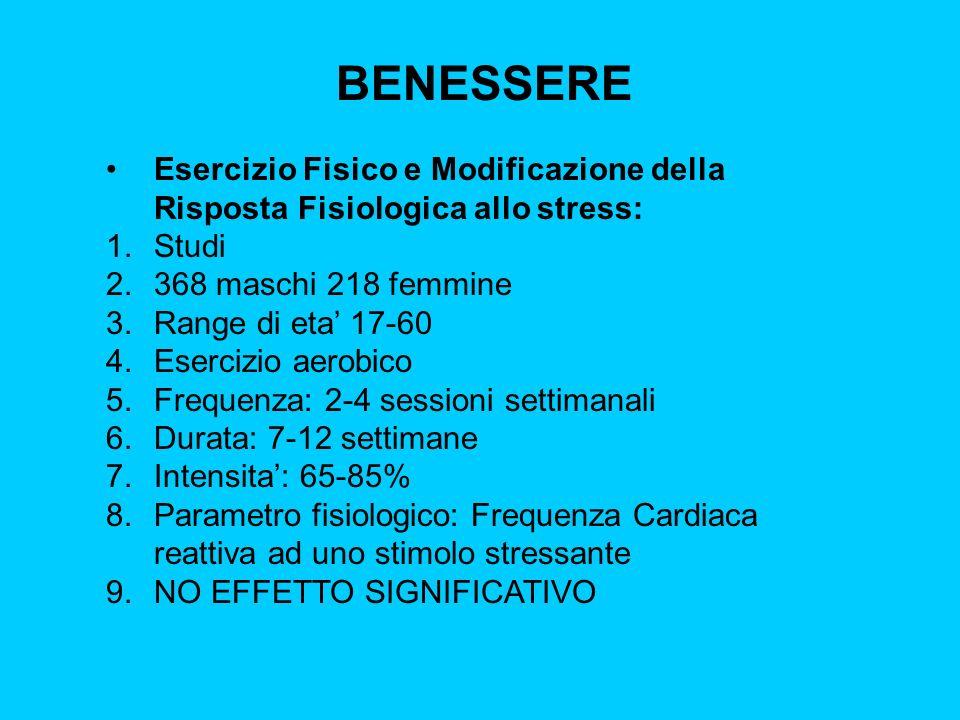 BENESSERE Esercizio Fisico e Modificazione della Risposta Fisiologica allo stress: 1.Studi 2.368 maschi 218 femmine 3.Range di eta 17-60 4.Esercizio a