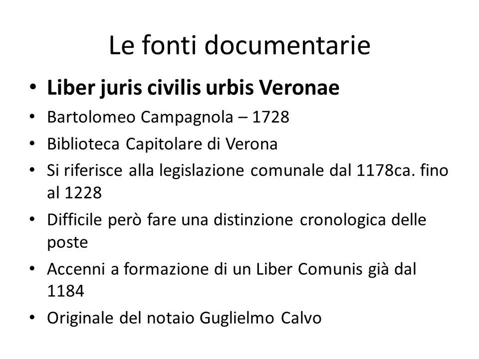 Le fonti documentarie Liber juris civilis urbis Veronae Bartolomeo Campagnola – 1728 Biblioteca Capitolare di Verona Si riferisce alla legislazione co