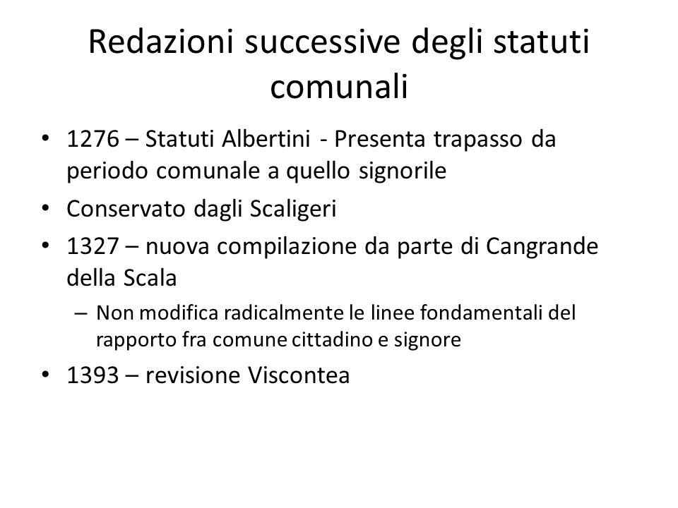 Redazioni successive degli statuti comunali 1276 – Statuti Albertini - Presenta trapasso da periodo comunale a quello signorile Conservato dagli Scali