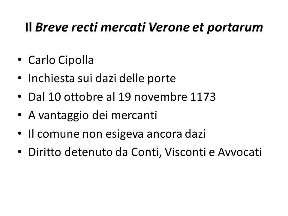 Il Breve recti mercati Verone et portarum Carlo Cipolla Inchiesta sui dazi delle porte Dal 10 ottobre al 19 novembre 1173 A vantaggio dei mercanti Il
