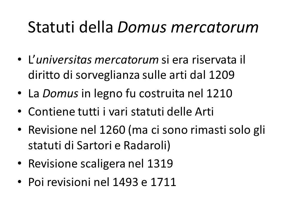 Statuti della Domus mercatorum Luniversitas mercatorum si era riservata il diritto di sorveglianza sulle arti dal 1209 La Domus in legno fu costruita