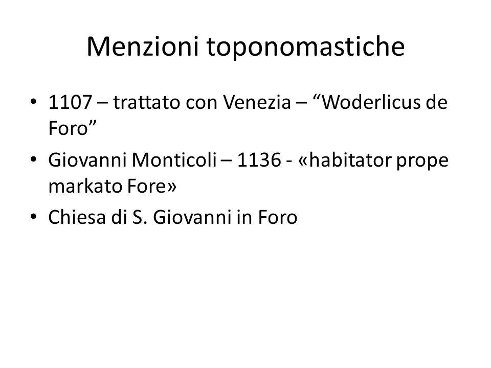Menzioni toponomastiche 1107 – trattato con Venezia – Woderlicus de Foro Giovanni Monticoli – 1136 - «habitator prope markato Fore» Chiesa di S. Giova