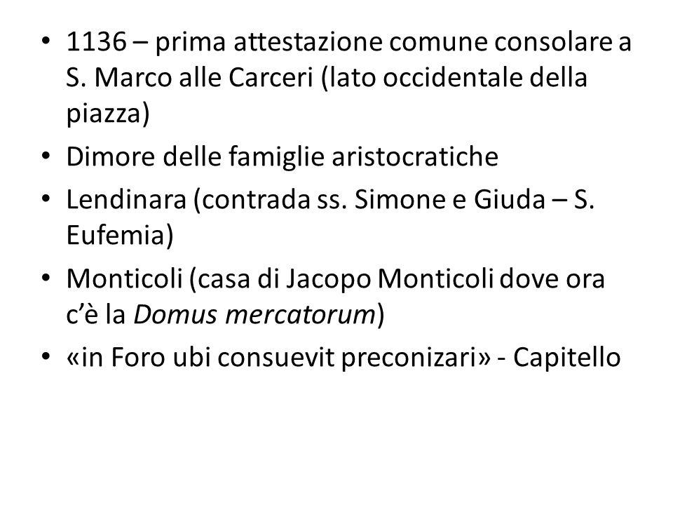 1136 – prima attestazione comune consolare a S. Marco alle Carceri (lato occidentale della piazza) Dimore delle famiglie aristocratiche Lendinara (con