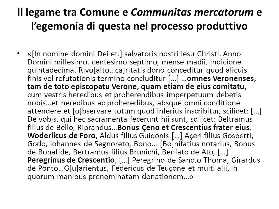 Il legame tra Comune e Communitas mercatorum e legemonia di questa nel processo produttivo «[In nomine domini Dei et.] salvatoris nostri Iesu Christi.