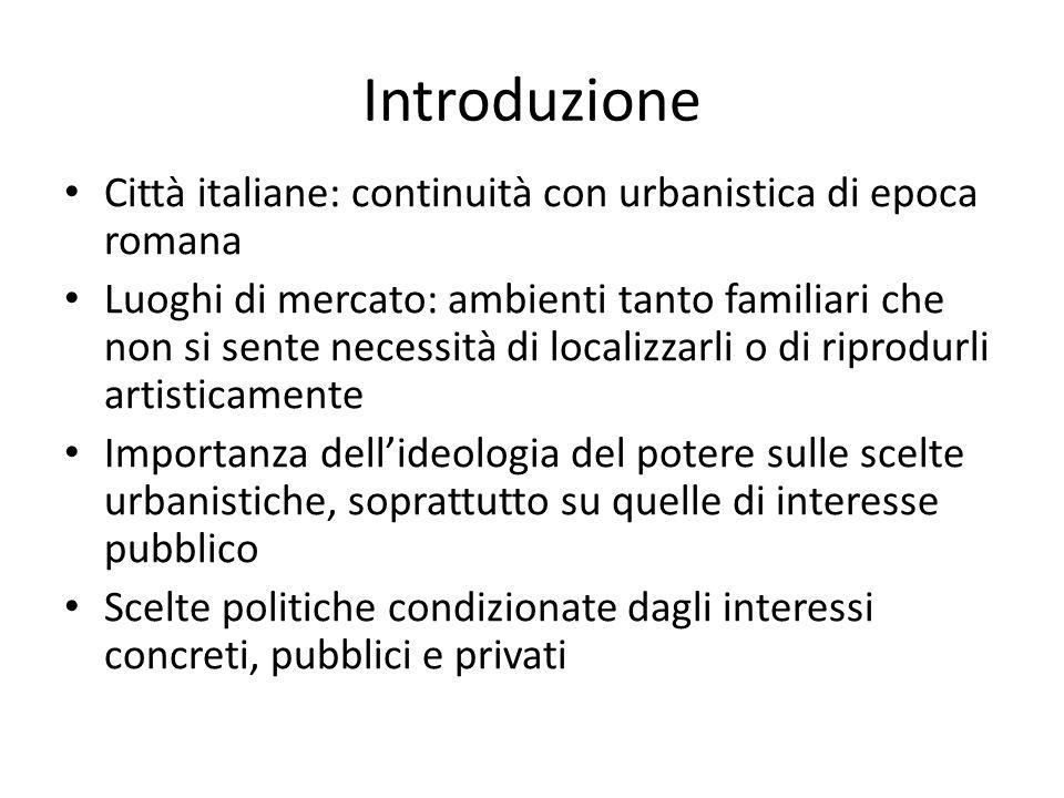 Introduzione Città italiane: continuità con urbanistica di epoca romana Luoghi di mercato: ambienti tanto familiari che non si sente necessità di loca