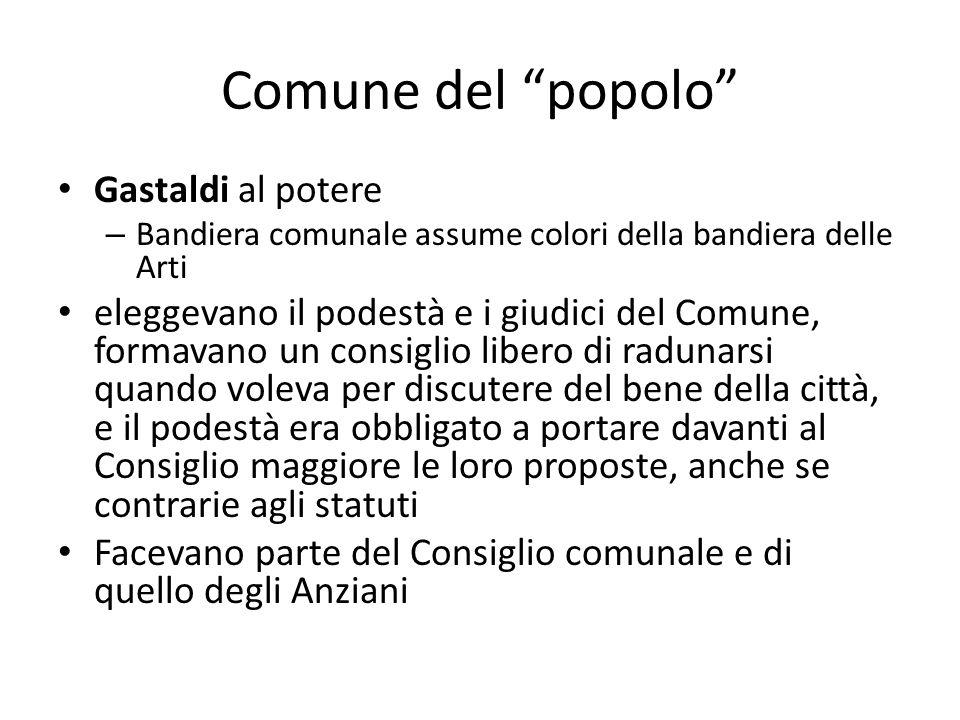 Comune del popolo Gastaldi al potere – Bandiera comunale assume colori della bandiera delle Arti eleggevano il podestà e i giudici del Comune, formava