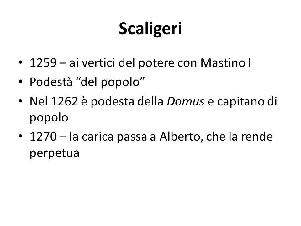 Scaligeri 1259 – ai vertici del potere con Mastino I Podestà del popolo Nel 1262 è podesta della Domus e capitano di popolo 1270 – la carica passa a A