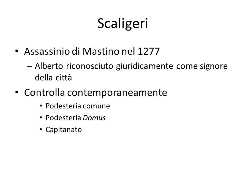 Scaligeri Assassinio di Mastino nel 1277 – Alberto riconosciuto giuridicamente come signore della città Controlla contemporaneamente Podesteria comune
