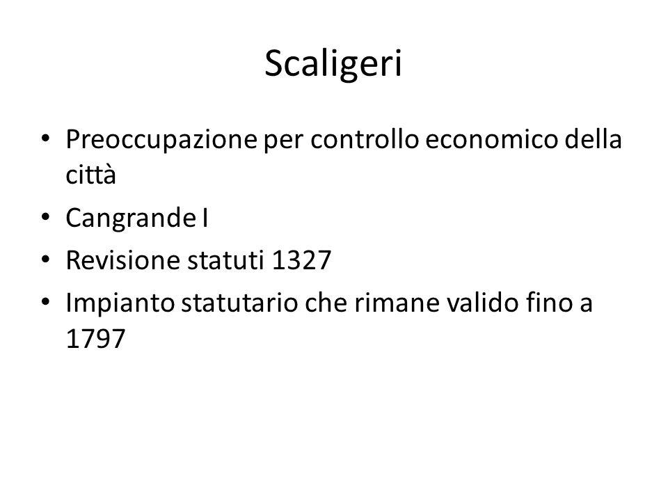 Scaligeri Preoccupazione per controllo economico della città Cangrande I Revisione statuti 1327 Impianto statutario che rimane valido fino a 1797