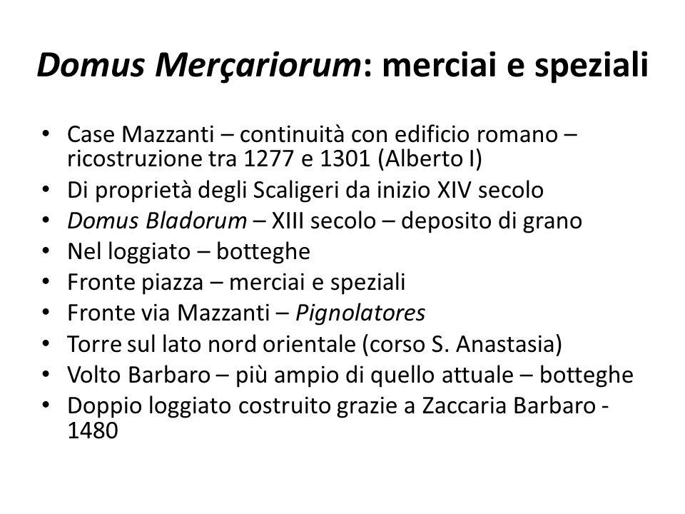 Domus Merçariorum: merciai e speziali Case Mazzanti – continuità con edificio romano – ricostruzione tra 1277 e 1301 (Alberto I) Di proprietà degli Sc