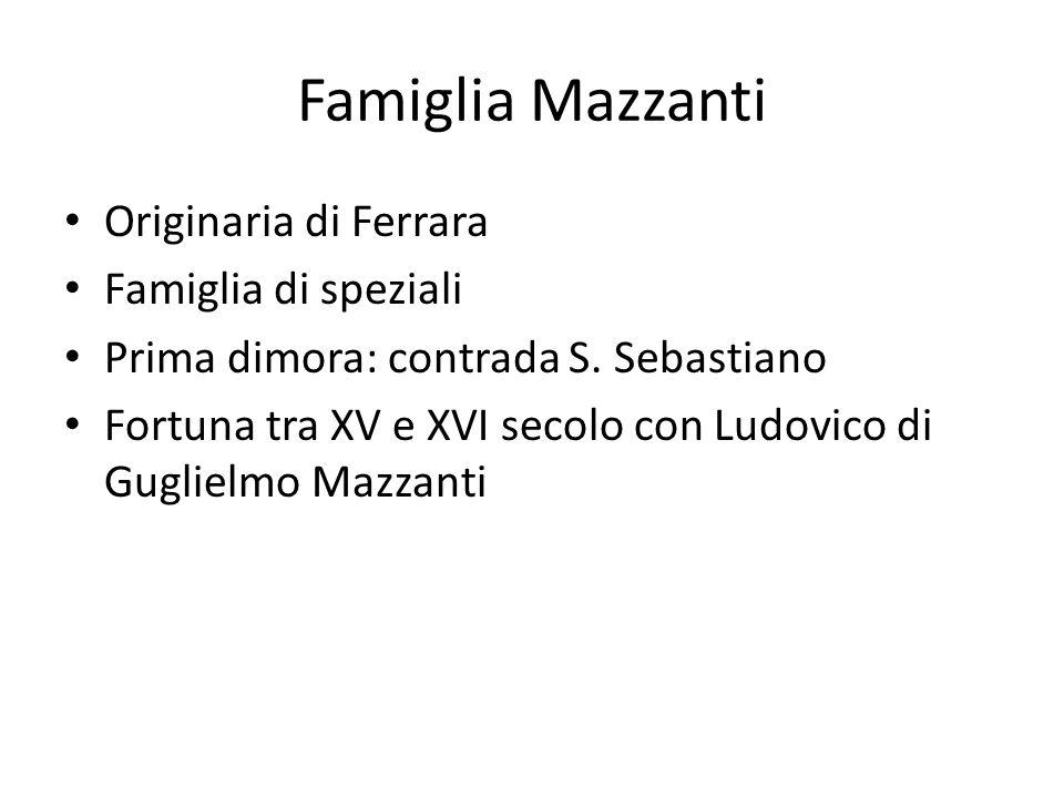 Famiglia Mazzanti Originaria di Ferrara Famiglia di speziali Prima dimora: contrada S. Sebastiano Fortuna tra XV e XVI secolo con Ludovico di Guglielm
