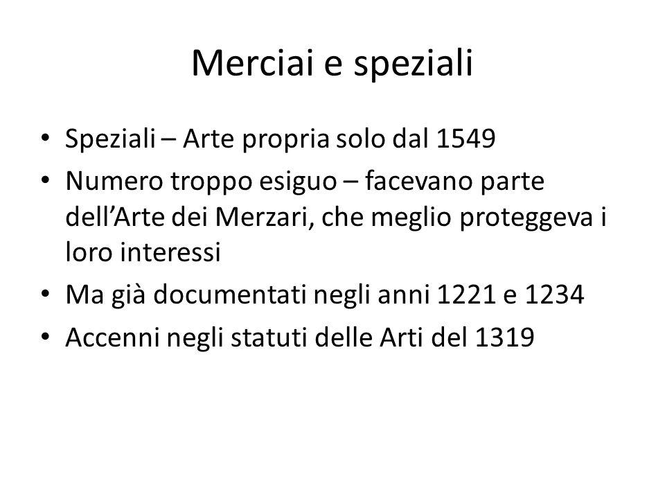 Merciai e speziali Speziali – Arte propria solo dal 1549 Numero troppo esiguo – facevano parte dellArte dei Merzari, che meglio proteggeva i loro inte