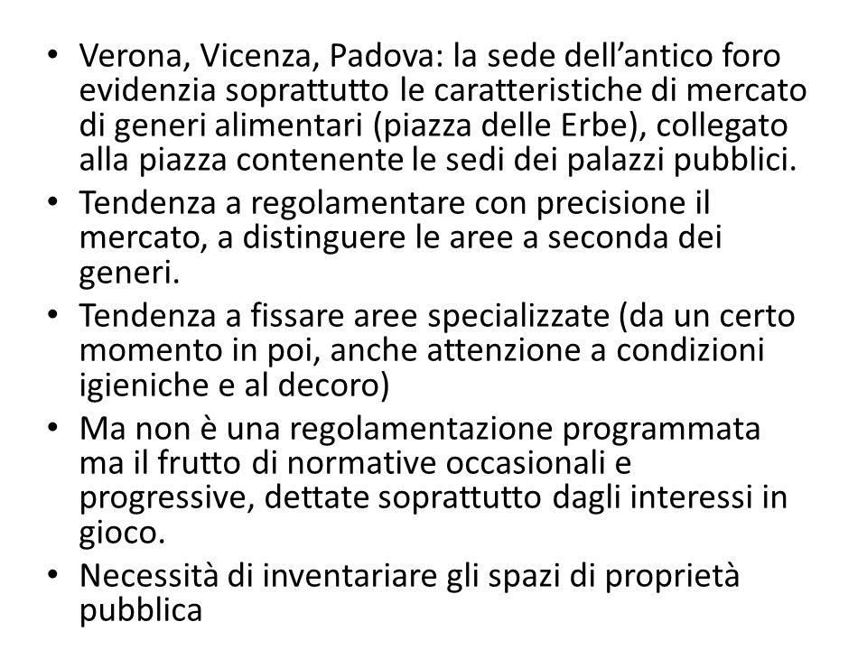 Verona, Vicenza, Padova: la sede dellantico foro evidenzia soprattutto le caratteristiche di mercato di generi alimentari (piazza delle Erbe), collega