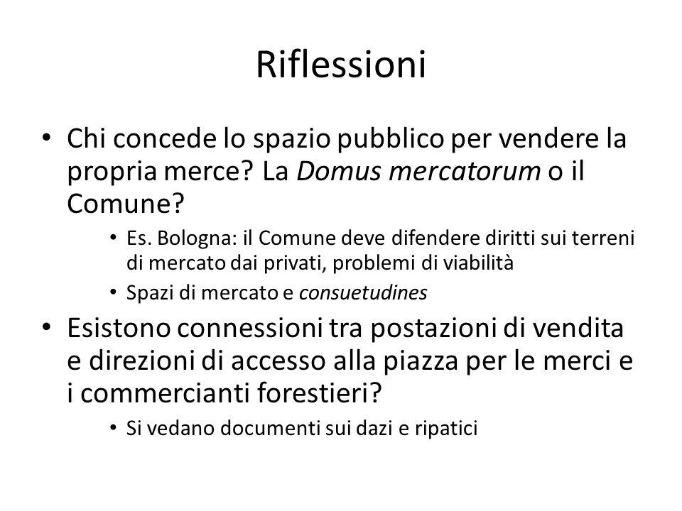 Riflessioni Chi concede lo spazio pubblico per vendere la propria merce? La Domus mercatorum o il Comune? Es. Bologna: il Comune deve difendere diritt