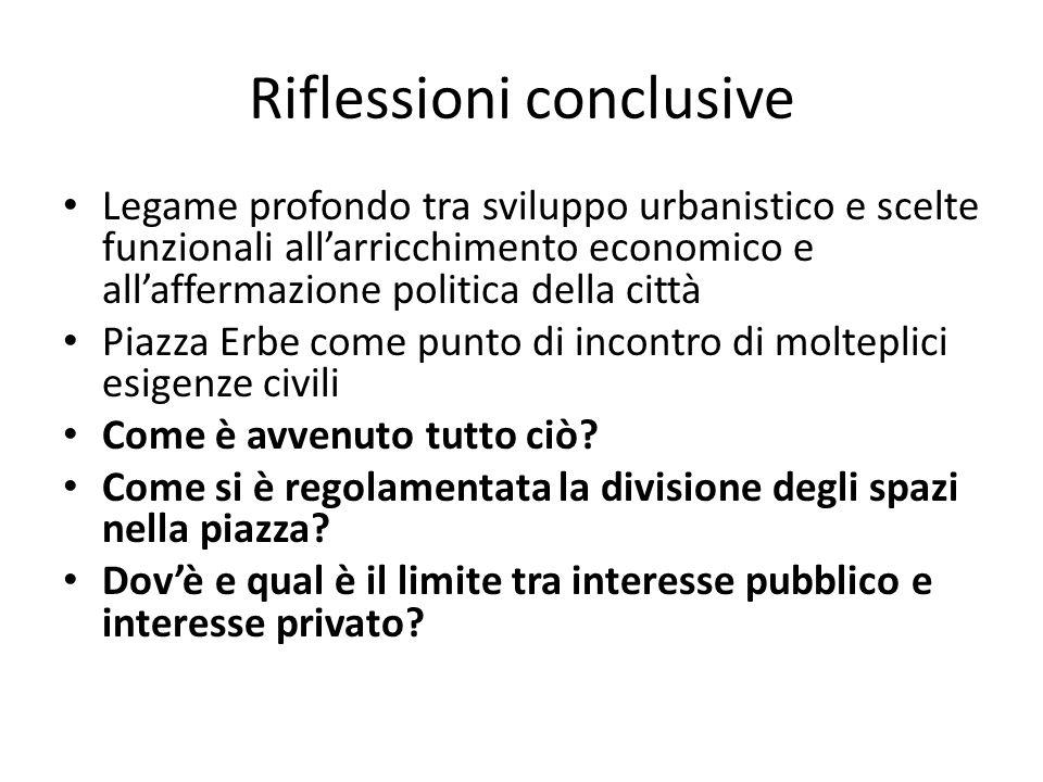 Riflessioni conclusive Legame profondo tra sviluppo urbanistico e scelte funzionali allarricchimento economico e allaffermazione politica della città