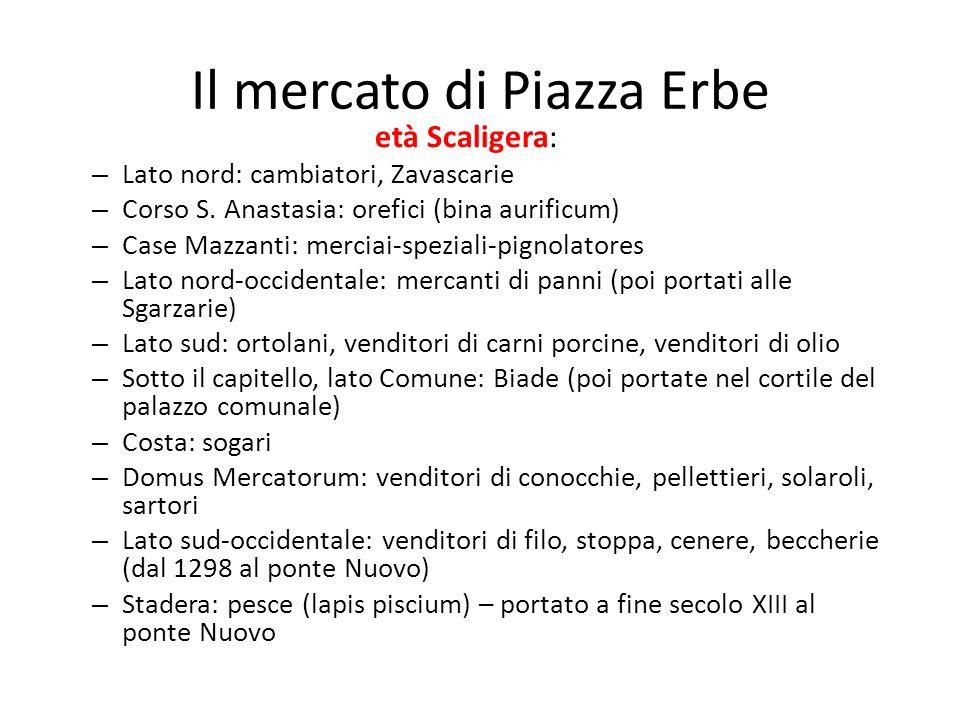 Il mercato di Piazza Erbe età Scaligera: – Lato nord: cambiatori, Zavascarie – Corso S. Anastasia: orefici (bina aurificum) – Case Mazzanti: merciai-s