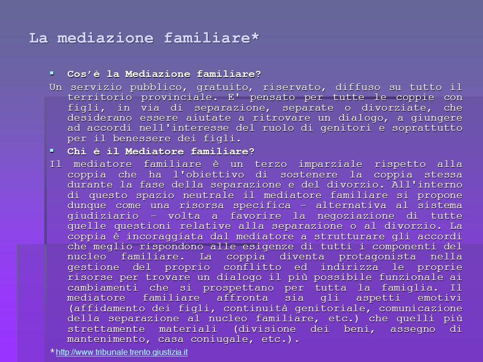 La mediazione familiare* Cosè la Mediazione familiare.