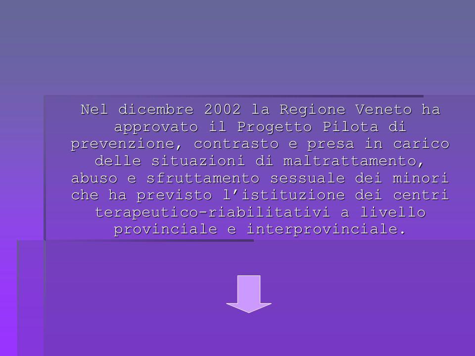 Nel dicembre 2002 la Regione Veneto ha approvato il Progetto Pilota di prevenzione, contrasto e presa in carico delle situazioni di maltrattamento, abuso e sfruttamento sessuale dei minori che ha previsto listituzione dei centri terapeutico-riabilitativi a livello provinciale e interprovinciale.