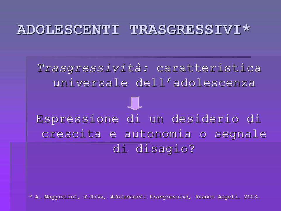 ADOLESCENTI TRASGRESSIVI* Trasgressività: caratteristica universale delladolescenza Espressione di un desiderio di crescita e autonomia o segnale di disagio.