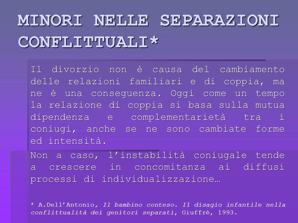 Separazione come crisi Separarsi vuol dire mettere in discussione limmagine di sé che era stata costituita dal ruolo coniugale.