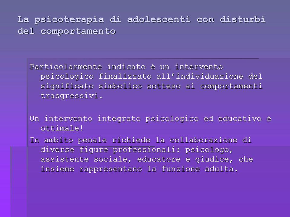 La psicoterapia di adolescenti con disturbi del comportamento Particolarmente indicato è un intervento psicologico finalizzato allindividuazione del significato simbolico sotteso ai comportamenti trasgressivi.