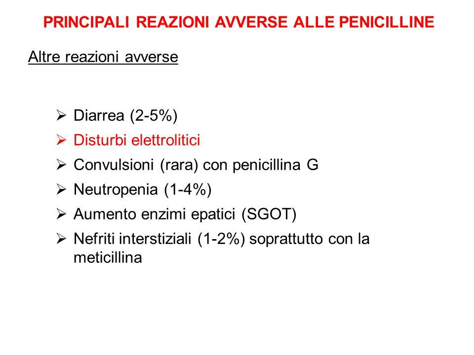 PRINCIPALI REAZIONI AVVERSE ALLE PENICILLINE Diarrea (2-5%) Disturbi elettrolitici Convulsioni (rara) con penicillina G Neutropenia (1-4%) Aumento enz