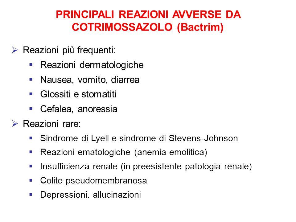 PRINCIPALI REAZIONI AVVERSE DA COTRIMOSSAZOLO (Bactrim) Reazioni più frequenti: Reazioni dermatologiche Nausea, vomito, diarrea Glossiti e stomatiti C