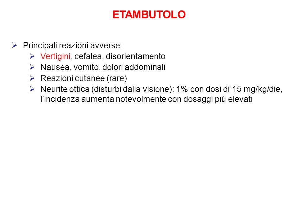 ETAMBUTOLO Principali reazioni avverse: Vertigini, cefalea, disorientamento Nausea, vomito, dolori addominali Reazioni cutanee (rare) Neurite ottica (