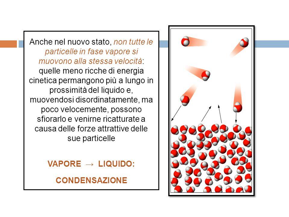 Anche nel nuovo stato, non tutte le particelle in fase vapore si muovono alla stessa velocità: quelle meno ricche di energia cinetica permangono più a lungo in prossimità del liquido e, muovendosi disordinatamente, ma poco velocemente, possono sfiorarlo e venirne ricatturate a causa delle forze attrattive delle sue particelle VAPORE LIQUIDO: CONDENSAZIONE