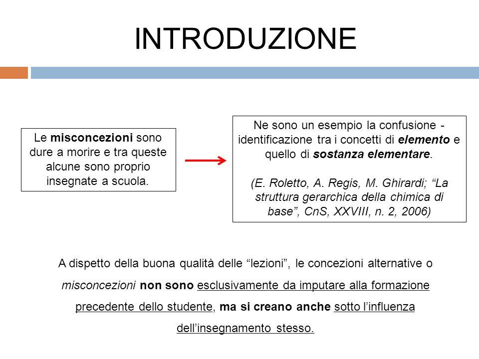 INTRODUZIONE Ne sono un esempio la confusione - identificazione tra i concetti di elemento e quello di sostanza elementare.