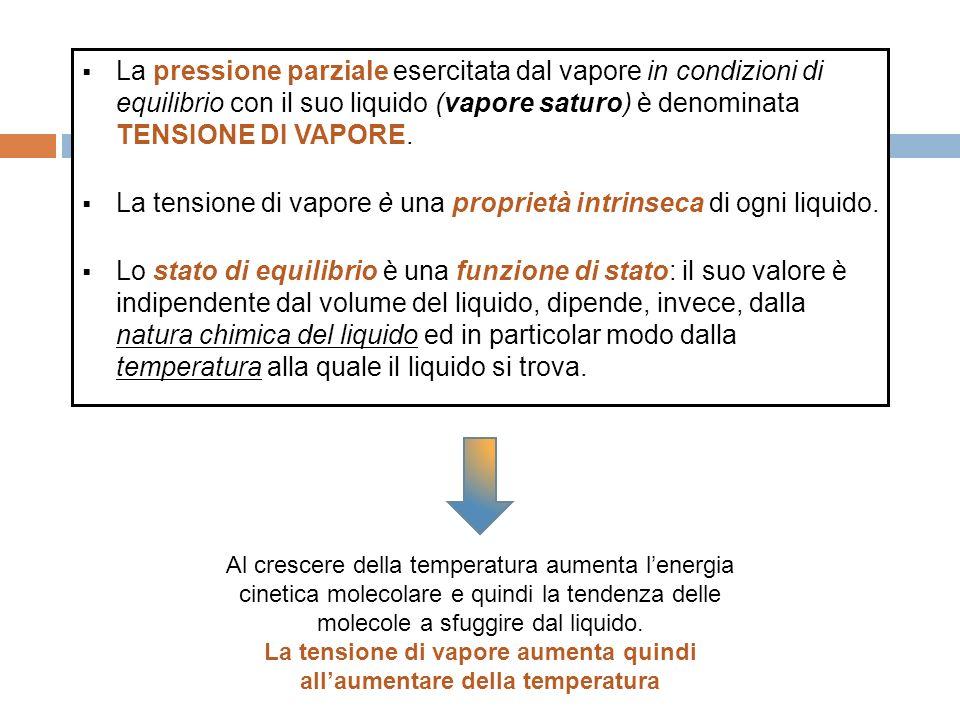 La pressione parziale esercitata dal vapore in condizioni di equilibrio con il suo liquido (vapore saturo) è denominata TENSIONE DI VAPORE.