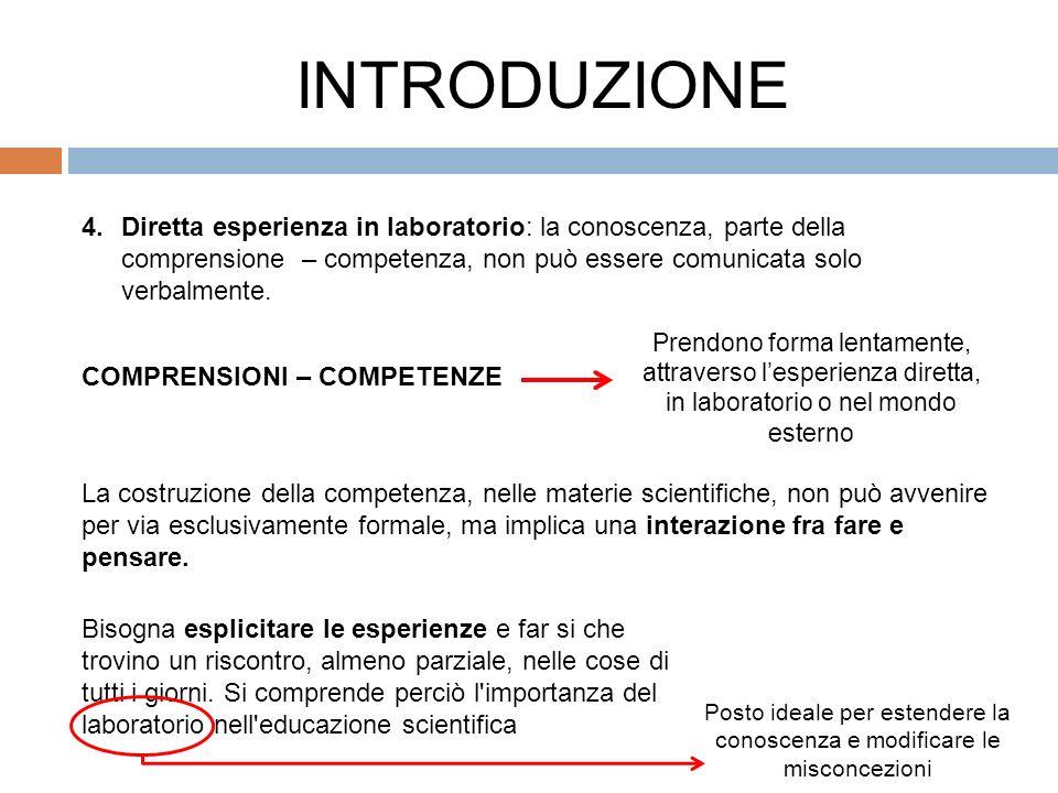 4.Diretta esperienza in laboratorio: la conoscenza, parte della comprensione – competenza, non può essere comunicata solo verbalmente.
