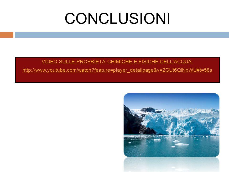 CONCLUSIONI VIDEO SULLE PROPRIETÀ CHIMICHE E FISICHE DELLACQUA: http://www.youtube.com/watch?feature=player_detailpage&v=2GUt6QlNbWU#t=58s