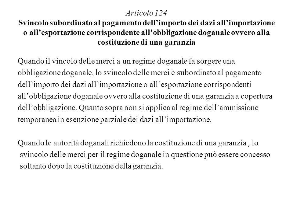 Articolo 124 Svincolo subordinato al pagamento dellimporto dei dazi allimportazione o allesportazione corrispondente allobbligazione doganale ovvero a