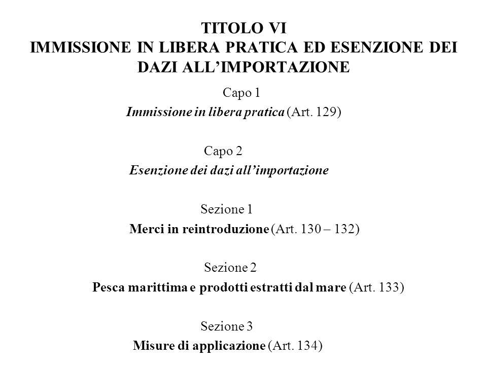 TITOLO VI IMMISSIONE IN LIBERA PRATICA ED ESENZIONE DEI DAZI ALLIMPORTAZIONE Capo 1 Immissione in libera pratica (Art. 129) Capo 2 Esenzione dei dazi