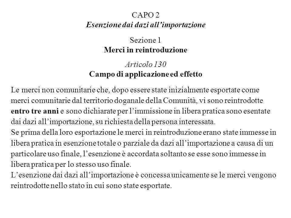 CAPO 2 Esenzione dai dazi allimportazione Sezione 1 Merci in reintroduzione Articolo 130 Campo di applicazione ed effetto Le merci non comunitarie che