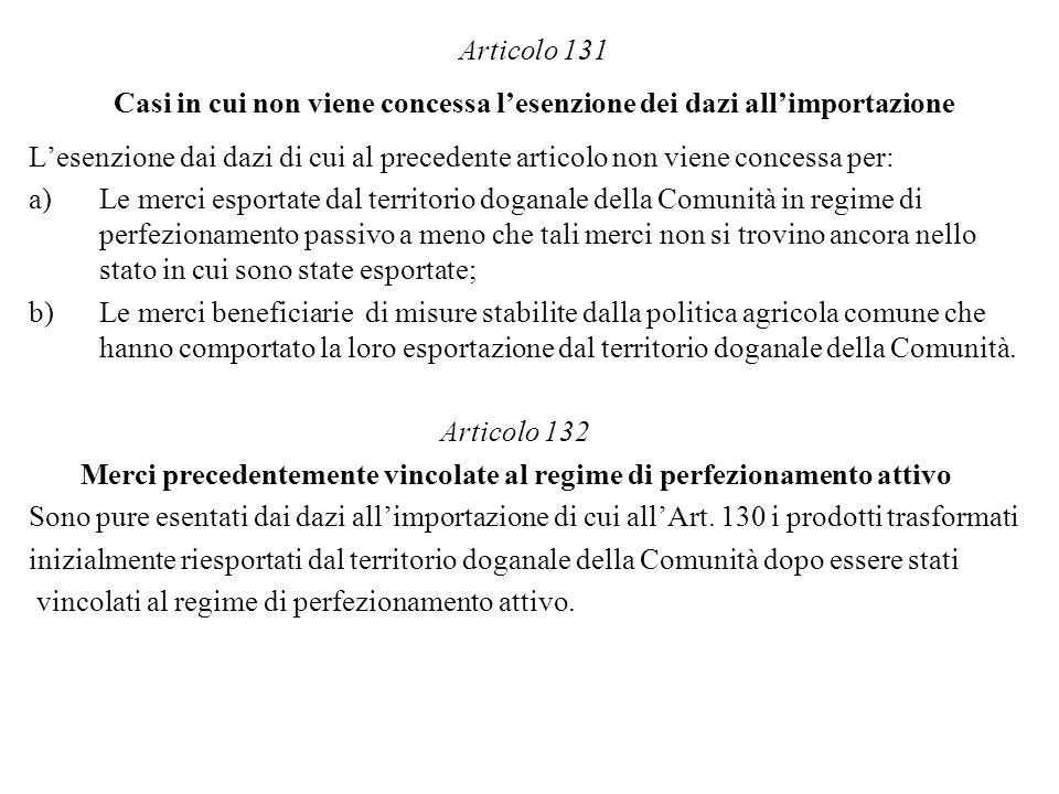 Articolo 131 Casi in cui non viene concessa lesenzione dei dazi allimportazione Lesenzione dai dazi di cui al precedente articolo non viene concessa p