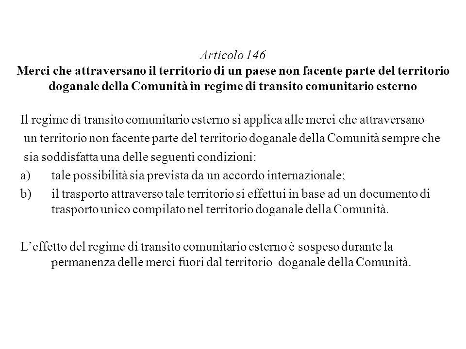 Articolo 146 Merci che attraversano il territorio di un paese non facente parte del territorio doganale della Comunità in regime di transito comunitar