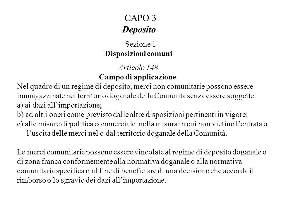 CAPO 3 Deposito Sezione 1 Disposizioni comuni Articolo 148 Campo di applicazione Nel quadro di un regime di deposito, merci non comunitarie possono es