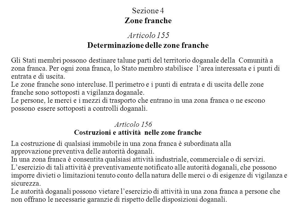 Sezione 4 Zone franche Articolo 155 Determinazione delle zone franche Gli Stati membri possono destinare talune parti del territorio doganale della Co